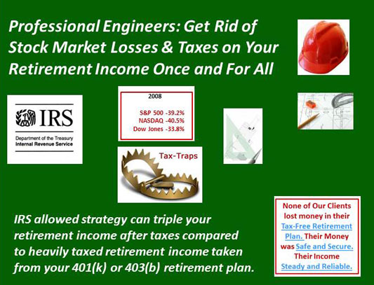 Professional Engineers get rid of stock market losses & taxes on your retirement income once and for all